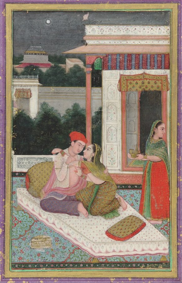 Lovers on a terrace - Late 19th century Mughal Painting