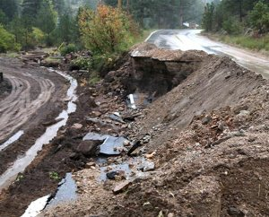A scene near Glen Haven, Colo., shows road damage on Sept. 27, 2013 — two weeks after the flooding. LCMS Disaster Response has distributed more than $270,000 for material and financial aid to affected families. (LCMS Disaster Response/Ross Johnson)