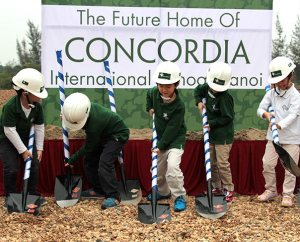 "Kindergarten students at Concordia International School Hanoi ceremoniously ""break ground"" at the March 26 celebration of the start of construction for its permanent campus. Over the next 10 years the school will build facilities with 190,000 square feet of space that can accommodate 850 students in preschool through Grade 12. (Michael Gilliland)"