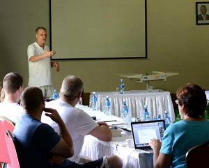 "Dr. Michael Rodewald addresses LCMS missionaries at the April 1-5 retreat in Mombasa, Kenya. Rodewald, who has spent nearly 30 years in Africa, urged new missionaries to keep an open mind about their own abilities and cultural perspectives. ""One is always a learner no matter how long one serves in a cross-cultural context,"" Rodewald said. (LCMS Communications/Phil Jaseph)"