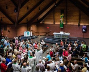 The institute opens Monday, July 28, 2014, with worship at St. John Lutheran Church in Seward, Neb. (LCMS/Erik M. Lunsford)