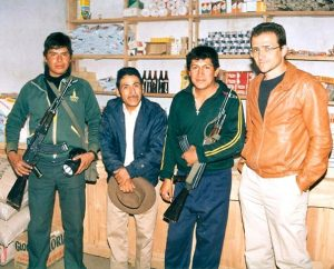 "The Rev. Dan McMiller, right, poses with his ""hero,"" Pastor Fidel Convercio Carrera, second from left, and two soldiers in 1987 in Pacllon, Peru. Carrera was ""one of our first ordained Peruvians"" and continued his ministry even in the face of terrorist attacks and threats to his life, said McMiller, a former missionary to Peru.  Even though missionary service can be difficult, it also can be ""the most rewarding time of your life,"" McMiller says. (Timothy Erickson)"