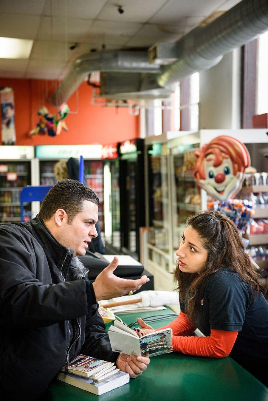 Vicar David Blas witnesses at La Conquistadora, a Mexican grocery store in Sheboygan, Wis.