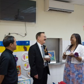 The Rev. Michael Wu (left), Fred Voigtman (middle), and Gail Grieser (right)—an LCMS missionary—talk prior to the graduation ceremony at Concordia School for Special Education on July 15, 2016.