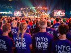 Participants gather for a Mass Event in the Mercedes-Benz Superdome during the 2016 LCMS Youth Gathering in New Orleans (LCMS/Erik M. Lunsford)