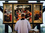 The Rev. William C. Weedon leads Matins Sept. 19, during the chapel service in which the replica of the Reformation Altar piece was blessed. (LCMS/Frank Kohn)