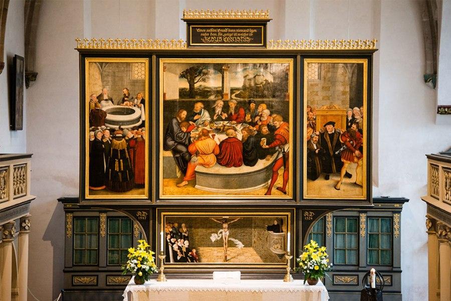 The original Cranach Reformation Altar adorns St. Mary's Church in Wittenberg, Germany. (LCMS/Erik M. Lunsford)