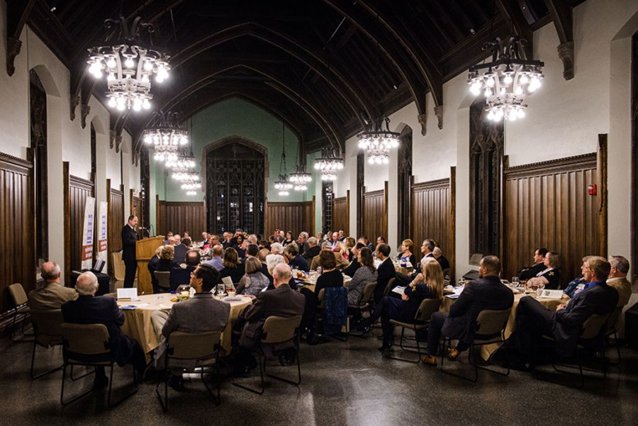 "The Rev. Dr. Daniel Harmelink, Concordia Historical Institute (CHI) executive director, speaks during this year's CHI awards banquet. The institute's Awards Committee presented 17 ""Awards of Commendation"" for works published in 2015. (LCMS/Erik M. Lunsford)"