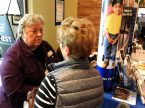 Virginia Flo, Lutherans For Life (LFL) regional director of Minnesota and national conference director, speaks with a conference participant during a break at the 2016 LFL National Conference at St. Michael's Lutheran Church in Bloomington, Minn. (LCMS/Roger Drinnon)