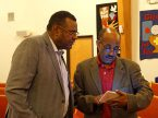 The Rev. Dwight Dickinson Sr., left, pastor of Great Commission Lutheran Church in St. Louis, talks with the Rev. Dr. Yohannes Mengsteab, mission and ministry facilitator Area B for the LCMS Texas District, during the recent Black Clergy Caucus. (LCMS /Megan K. Mertz)