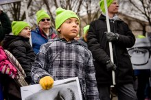 Solomon Stout waits to join the 2017 March for Life in Washington, D.C.