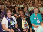 Lutheran Women's Missionary League convention-goers enjoy a light moment. During the June 22-25 convention in Albuquerque, N.M., delegates adopted a record $2.075 million mission goal and chose 22 mission grants to fund. (Kris Bueltmann)