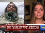 "Shooting victims Natalia (left) and Gianna Baca, seniors at Faith Lutheran High School in Las Vegas, take part in an interview on ""Good Morning America."" Natalia remains hospitalized after a collapsed lung, but is stable; Gianna, who was shot through the thigh, is recuperating at home."
