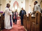 The Rev. Delwyn Campbell, national missionary to Gary, Ind., chats with parishioners following a 2017 Lenten service at St. John's Lutheran Church in Gary. New online training modules from Mission Field: USA are available to help with church-planting efforts in the U.S. (LCMS/Erik M. Lunsford)