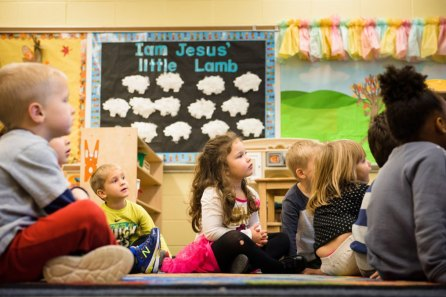 Preschool JK3 students listen to a story at St. John's Lutheran School on Wednesday, Nov. 15, 2017, in Racine, Wis. (LCMS/Erik M. Lunsford)