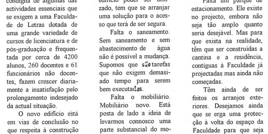 """(430) """"Mudança para o novo edifício da FLUP"""" - 1994 11 .. Referendum 02-410r"""