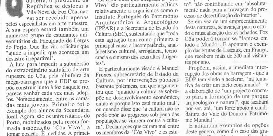"""(414) """"Estudantes de Letras querem um 'Côa vivo'"""" - 1995 02 17 JNoticias ...-320r"""