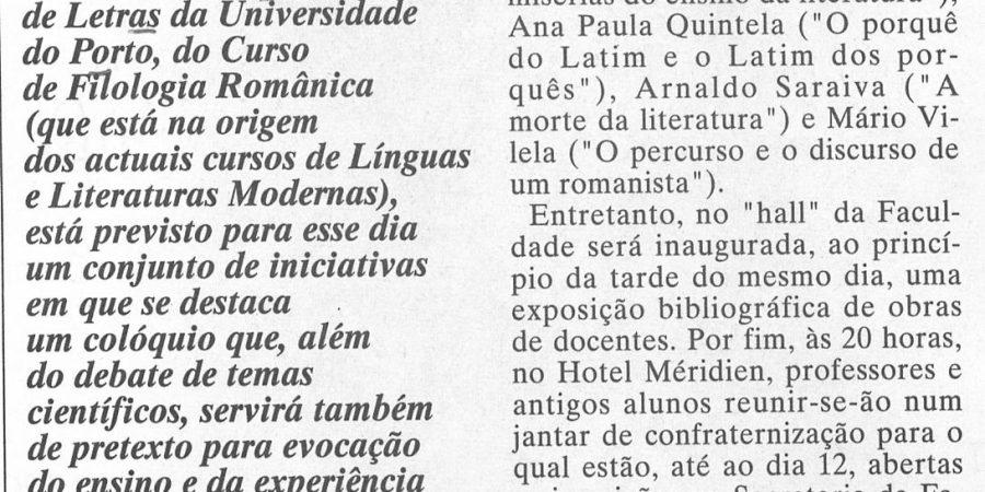 """(407) """"FLUP comemora 25 anos de Filologia Românica"""" - 1995 05 04 JNoticias ...-200r"""