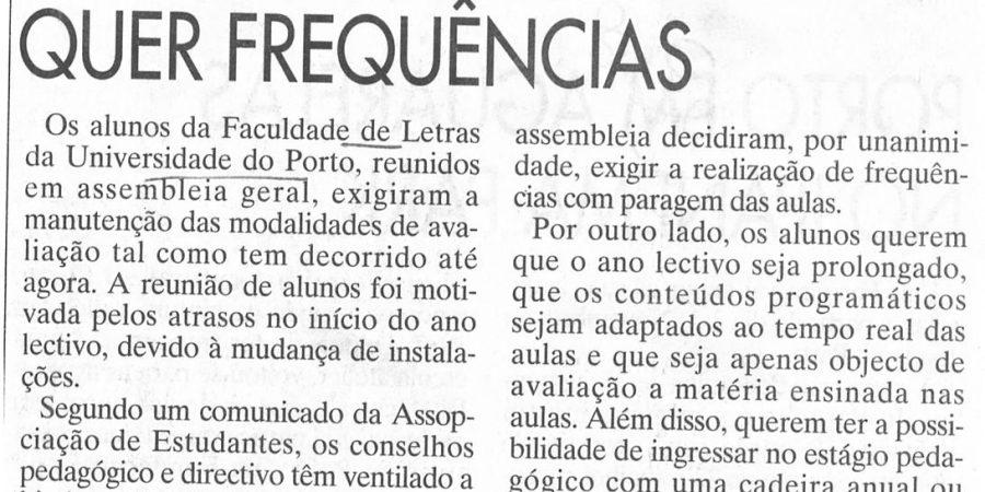 """(393) """"Letras do Porto quer frequências"""" - 1995 10 20 JNoticias ...-100r"""