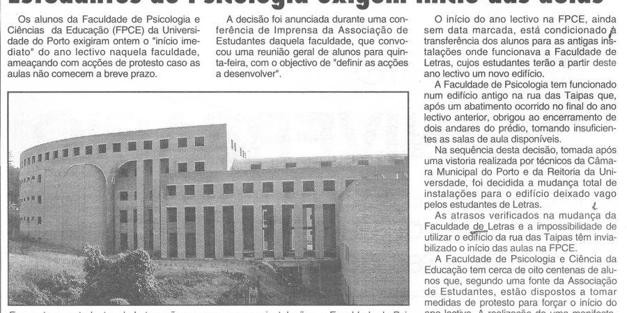 """(392) """"Estudantes de Psicologia exigem início das aulas"""" - 1995 10 24 CManha ...-180r"""