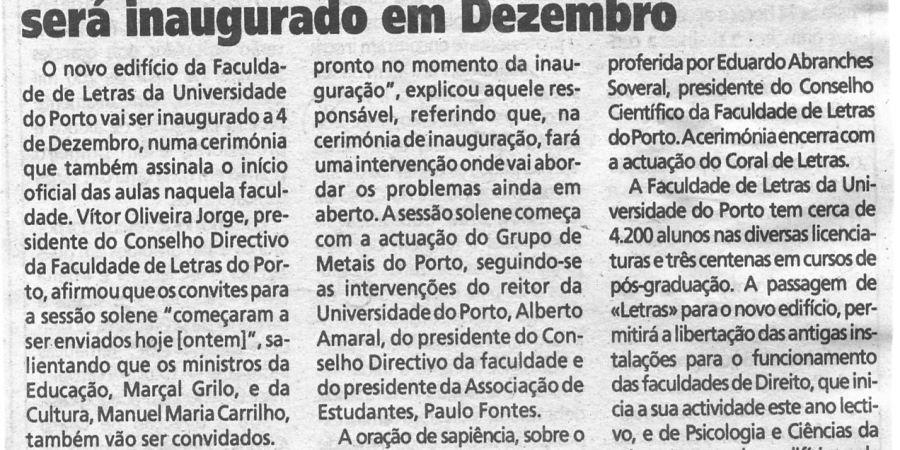 """(391) """"Edifício da Faculdade de Letras será inaugurado em Dezembro"""" - 1995 11 08 1ºJaneiro ...-120r"""