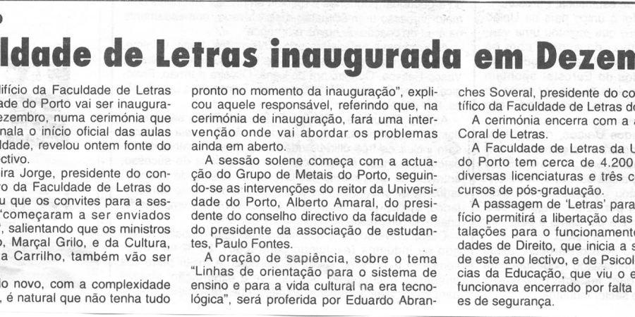 """(390) """"Faculdade de Letras inaugurada em Dezembro"""" - 1995 11 08 CManha ...-130r"""