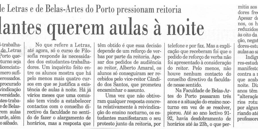 """(379) """"Estudantes querem aulas à noite"""" - 1995 12 01 Publico ...-180r"""