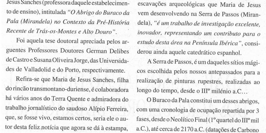 """(348) """"Arqueologia de Mirandela em prova de doutoramento na Universidade do Porto"""" - 1996 02 15 TerraQuente ...-240r"""