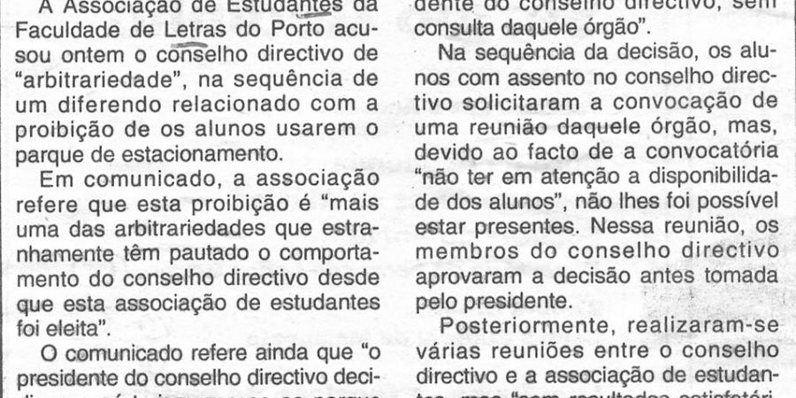 """(338) """"Estudantes contestam conselho directivo"""" - 1996 04 23 CManha ...-100r"""