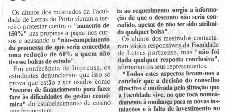 """(328) """"Alunos de mestrado contra Letras do Porto"""" - 1996 05 18 JNoticias ...-130r"""