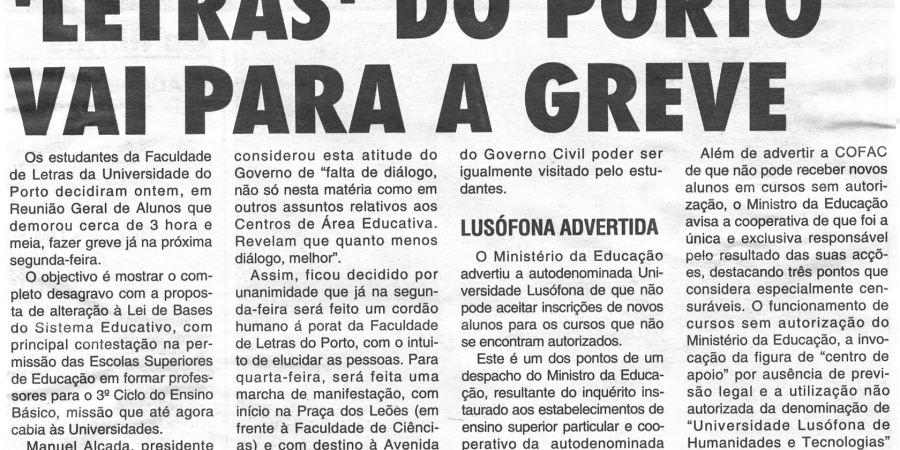 """(306) """"'Letras' do Porto vai para a greve"""" - 1996 10 11 CManha ...-190r"""