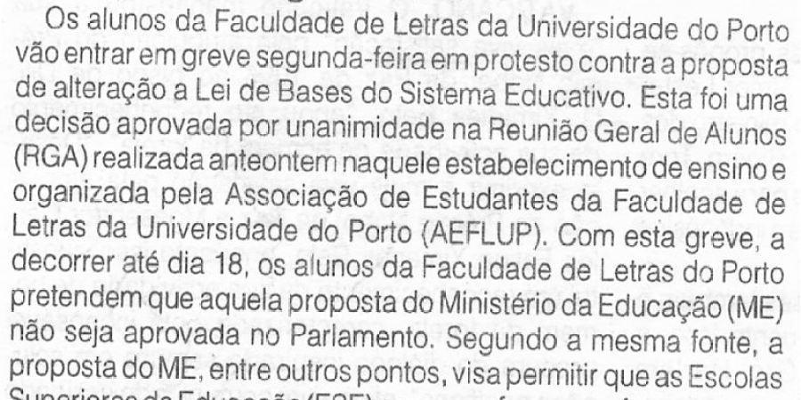 """(303) """"Alunos de Letras do Porto em greve na segunda-feira"""" - 1996 10 12 1ºJaneiro ...-50r"""