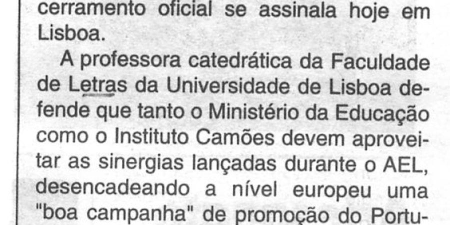 """(300) """"Europa quer aprender português"""" - 1996 10 14 CManha ...-r"""