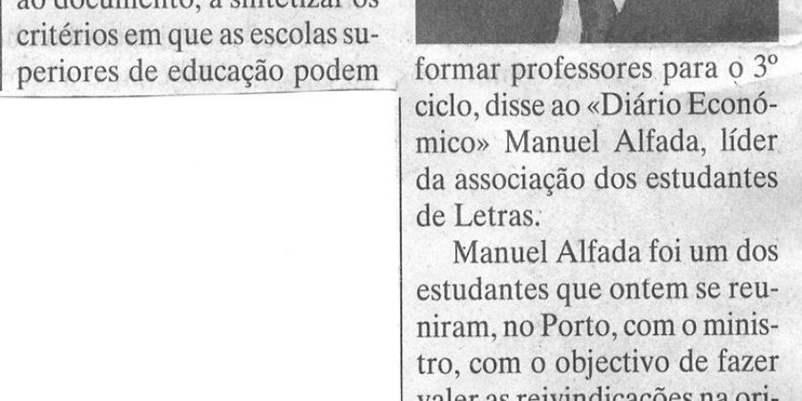 """(286) """"Marçal Grilo não satisfaz estudantes de Letras do Porto"""" - 1996 10 22 DEconomico ...-150r"""