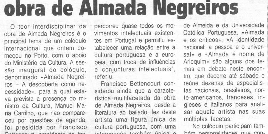 """(275) """"Especialistas debatem obra de Almada Negreiros"""" - 1996 12 13 1ºJaneiro ...-140r"""