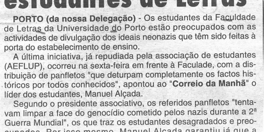"""(272) """"Neonazis preocupam estudantes de Letras"""" - 1997 02 09 CManha ...-70r"""