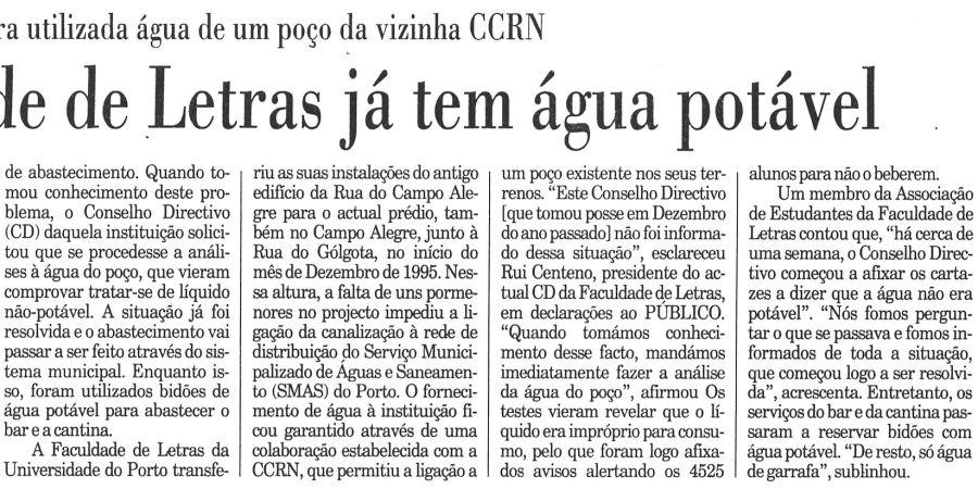 """(263) """"Faculdade de Letras já tem água potável"""" - 1997 05 27 Publico ...-230r"""