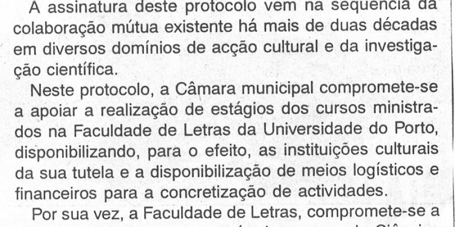 """(253) """"Câmara e Faculdade de Letras do Porto celebram protocolo"""" - 1997 07 17 TerrasValeSousa ...-110r"""