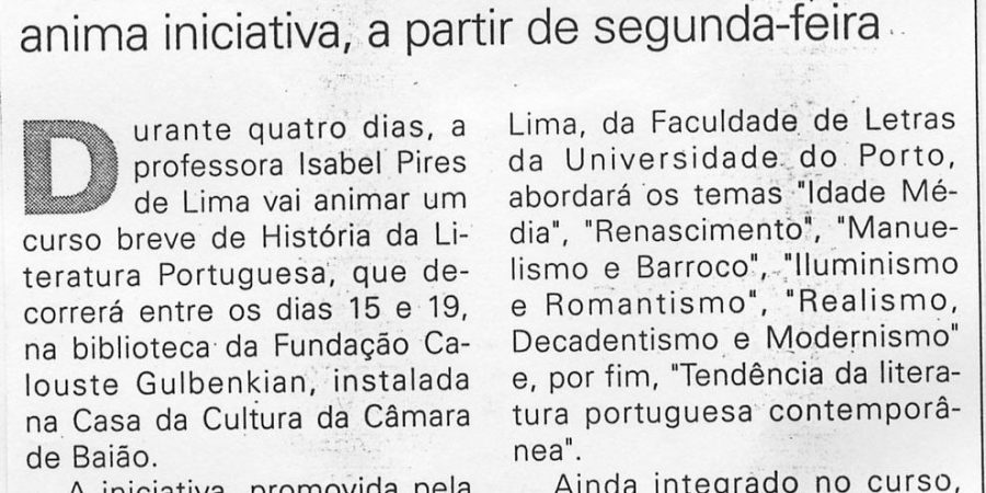 """(231) """"Literatura e música na Casa da Cultura"""" - 1998 .. .. JNoticias ...-160r"""