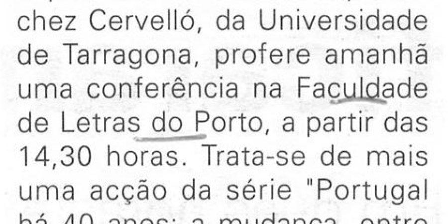 """(218) """"Sanchez Cervelló dá paletra em 'Letras' do Porto"""" - 1998 04 26 JNoticias ...-60r"""