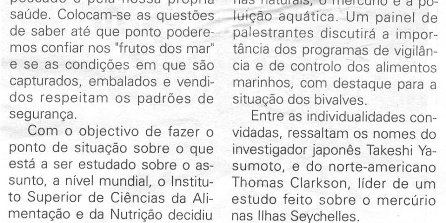 """(213) """"Poluição do mar debatida no Porto"""" - 1998 05 23 JNoticias ...-160r"""