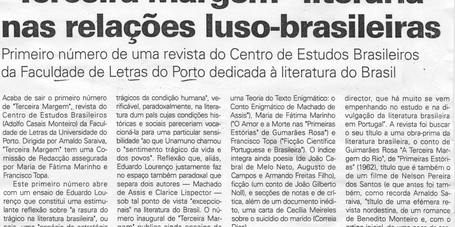 """(209) """"'Terceira Margem' literária nas relações luso-brasileiras"""" - 1998 07 07 JNoticias ...-210r"""