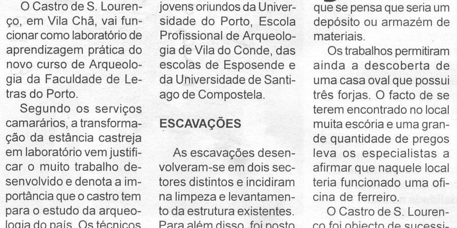 """(198) """"A Faculdade de Letras vai utilizar o Castro de S. Lourenço como laboratório de arqueologia"""" - 1998 10 08 VozMinho ...-210r"""