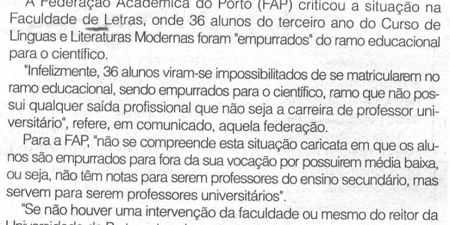 """(192) """"Alunos 'empurrados' para as ciências"""" - 1998 10 22 CManha ...-70r"""