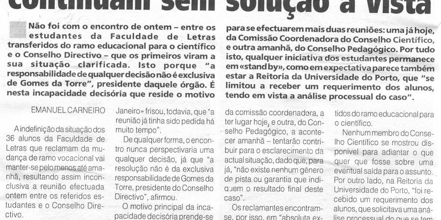 """(190) """"Alunos da Faculdade de Letras continuam sem solução à vista"""" - 1998 10 28 1ºJaneiro ...-240r"""