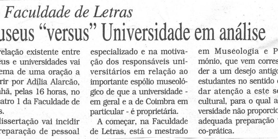 """(186) """"Museus 'versus' Universidade em análise"""" - 1998 11 16 DCoimbra ...-70r"""