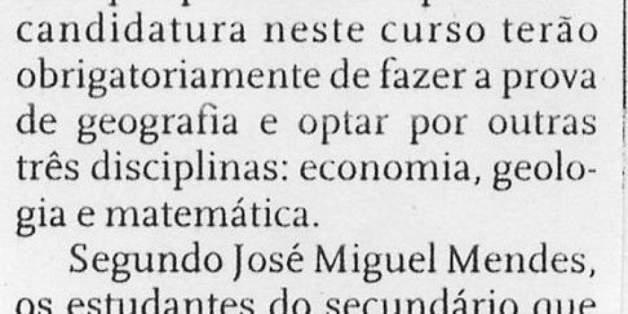 """(153) """"Geografia com acesso irregular na Faculdade de Letras do Porto"""" - 1999 03 13 DNoticias ...-140r"""
