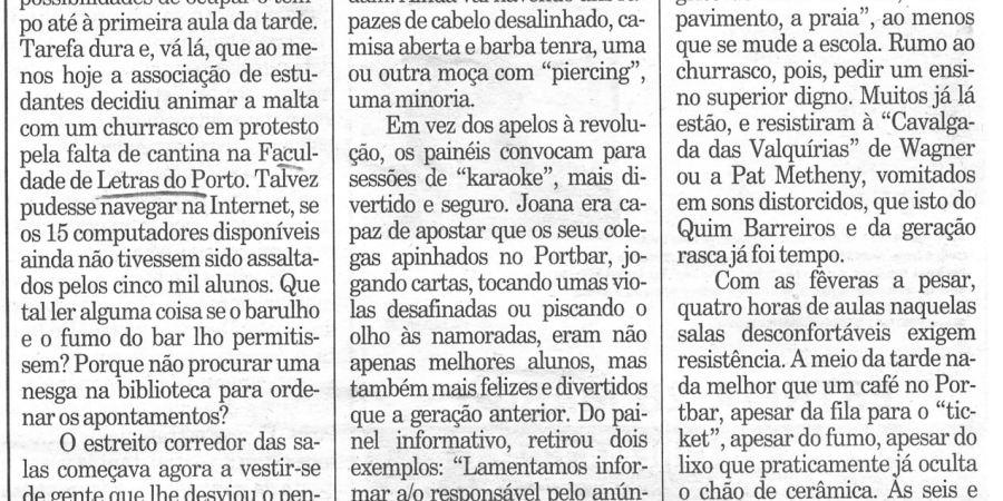 """(147) """"Um dia numa faculdade normal"""" - 1999 03 24 Publico ...-220r"""