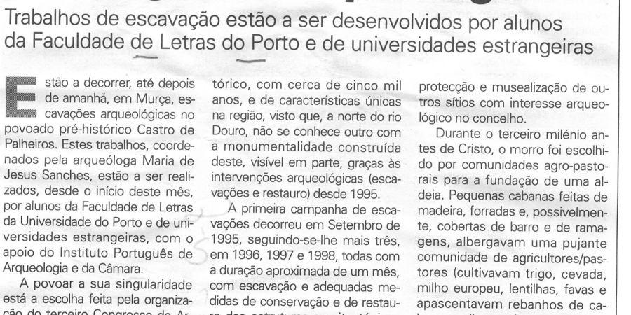 """(136) """"Castro de Palheiro será palco de congresso arqueológico"""" - 1999 08 25 JNoticias ...-250r"""