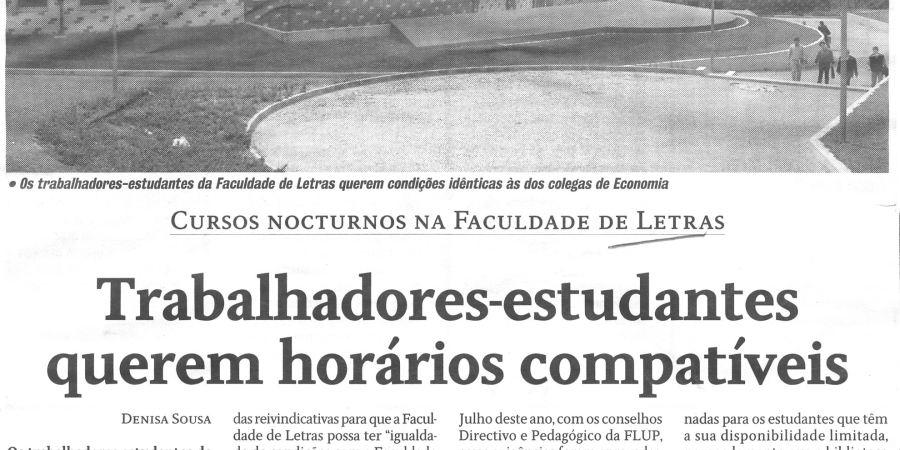 """(135) """"Trabalhadores-estudantes querem horários compatíveis"""" - 1999 08 31 CPorto ...-540r"""